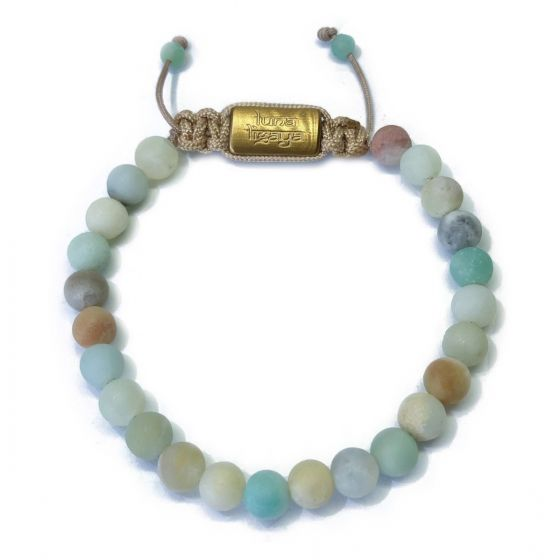 AMAZONITE 6mm,  matt 18K Gold plated