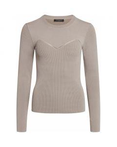 Bruuns Bazaar strikbluse - Celosia Kastanje Knit, Light Grey