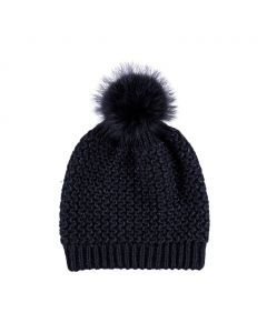 Beate Hat, Wool/Raccoon, Black