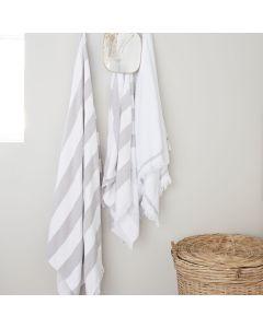 Håndklæde, Barbarum, Hvid og brune striber, MERAKI