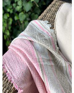 Håndvævede græsk strandhåndklæde, GEOF Pink