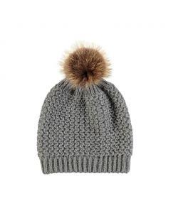 Beate Hat, Wool/Raccoon Grey