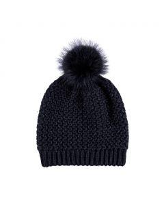 Beate Hat, Wool/Raccoon, Black