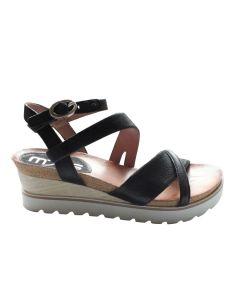 MJUS sandal med lille kilehæl, sort