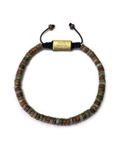 AFRICAN GREEN OPAL HEISHI 4 MM, Gold