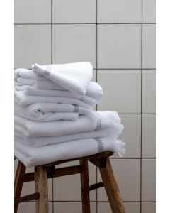MERAKI Håndklæde, 70x140 cm, Hvid med grå striber
